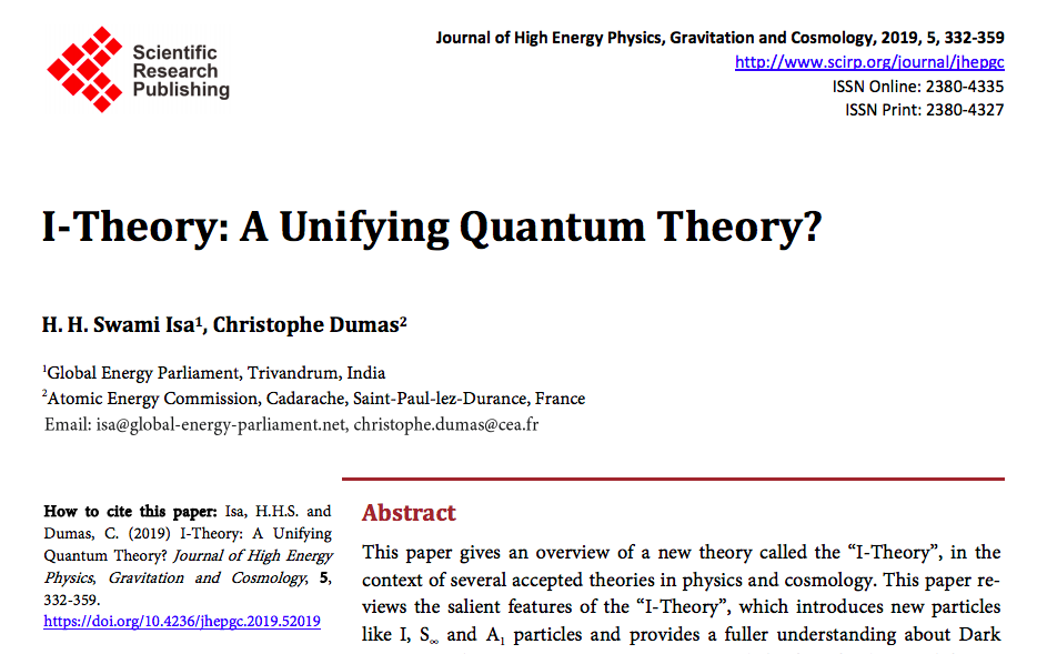 2019 I-Theory Article in JHEPGC