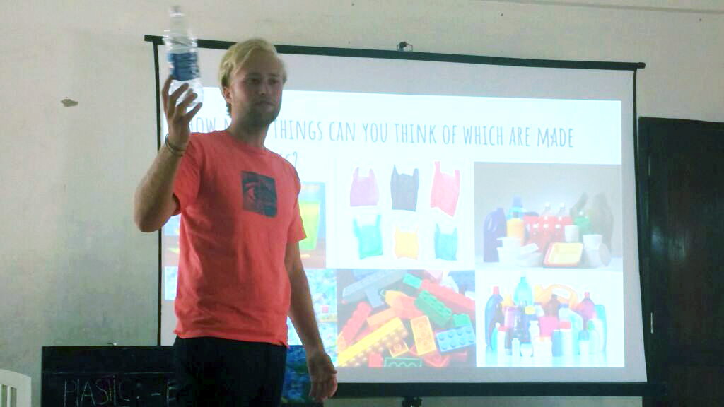 Mick from Netherlands teaching about plastic awareness