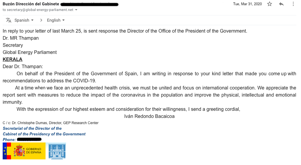 President of Spain email to GEP